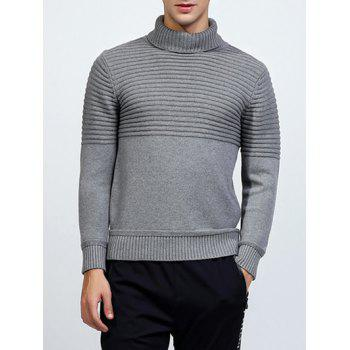 Ribbed Turtleneck Pullover Sweater - LIGHT GRAY LIGHT GRAY
