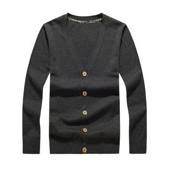 Buy Flat Knitted V Neck Button Cardigan DEEP GRAY