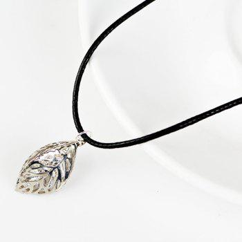 Faux Leather Rope Rhinestone Leaf Necklace - SILVER SILVER