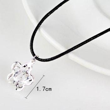 Faux Leather Rope Rhinestone Flower Necklace -  SILVER