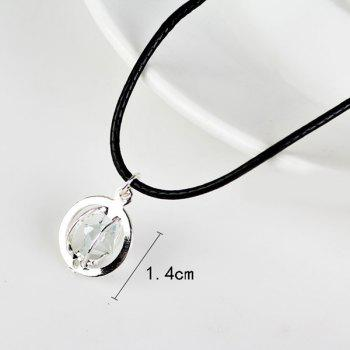 Faux Leather Rope Rhinestone Circle Necklace -  SILVER