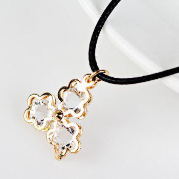 Faux Leather Rope Rhinestone Floral Necklace
