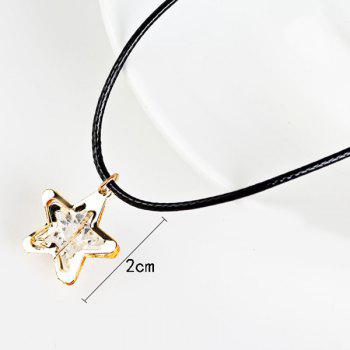 Faux Leather Rope Rhinestone Star Necklace -  GOLDEN