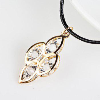 Faux Leather Rope Rhinestone Leaves Necklace
