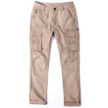 Loose Multi Pocket Zipper Fly Pants - KHAKI KHAKI