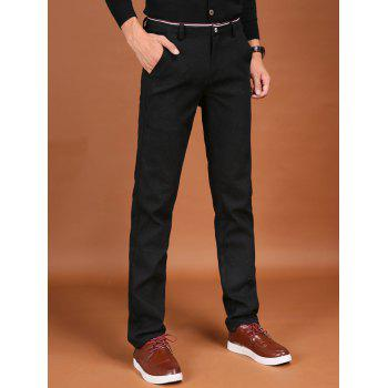 Pocket Zipper Fly Trimmed Flocking Pants - BLACK BLACK
