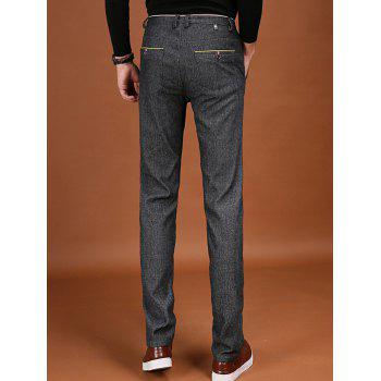 Pocket Zipper Fly Trimmed Flocking Pants - 29 29