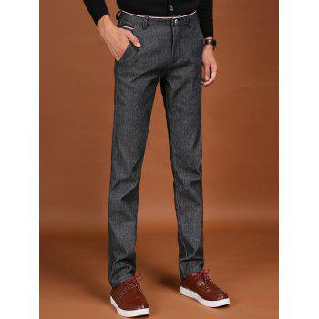 Pocket Zipper Fly Trimmed Flocking Pants - GRAY 29