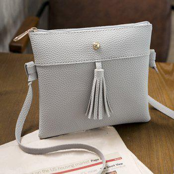 Textured PU Tassel Cross Body Bag - GRAY GRAY