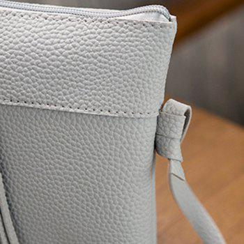 Textured PU Tassel Cross Body Bag -  GRAY