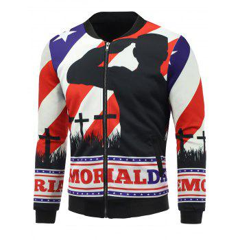 3D Soldier and Flag Print Stand Collar Zip Up Padded Jacket