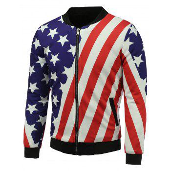 3D Stars and Stripes Print Stand Collar Zip Up Padded Jacket - COLORMIX L