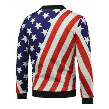 3D Stars and Stripes Print Stand Collar Zip Up Padded Jacket - COLORMIX COLORMIX