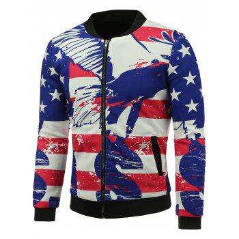 3D Abstract Stars and Stripes Print Stand Collar Zip Up Padded Jacket