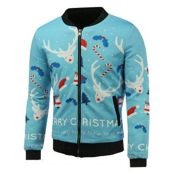 3D Christmas Cartoon Reindeer Print Stand Collar Zip Up Padded Jacket - SKY BLUE 4XL