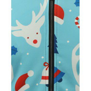 3D Reindeer Cartoon Noël Print stand Collar Zip Up Veste matelassée - Azur 3XL