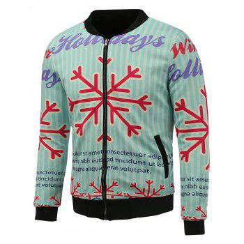 3D Christmas Snowflake Print Stand Collar Zip Up Padded Jacket