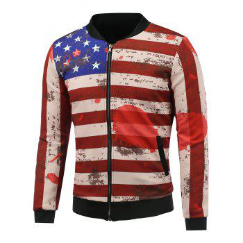 3D Splatter Paint Stars and Stripes Print Stand Collar Zip Up Padded Jacket