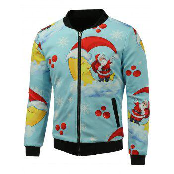 3D Father Christmas Print Stand Collar Zip Up Padded Jacket