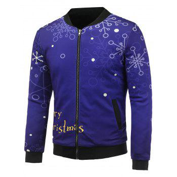 3D Christmas Snowflake Printed Stand Collar Zip Up Padded Jacket
