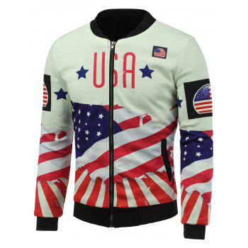 3D USA Stars and Stripes Print Stand Collar Zip Up Padded Jacket