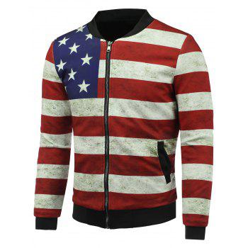 3D Rust Stars and Stripes Print Stand Collar Zip Up Padded Jacket