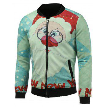 3D Father Christmas and Snowflake Print Stand Collar Padded Jacket