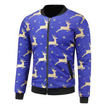 3D Christmas Reindeer and Snowflake Print Stand Collar Padded Jacket