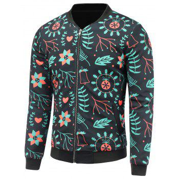 3D Christmas Floral Print Stand Collar Padded Jacket