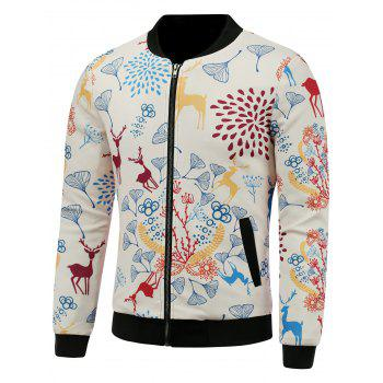 3D Reindeer and Floral Cartoon Print Stand Collar Padded Jacket