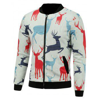 3D Reindeer Print Stand Collar Padded Jacket