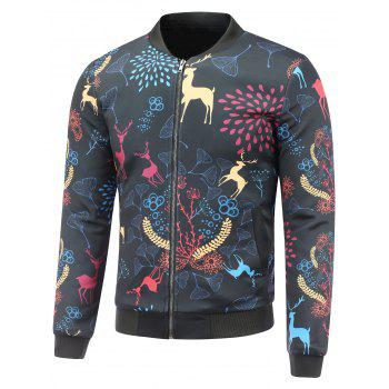 3D Reindeer and Floral Cartoon Printed Stand Collar Padded Jacket