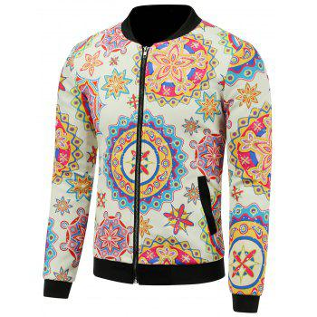3D Colorful Palace Florals Print Stand Collar Zip Up Padded Jacket