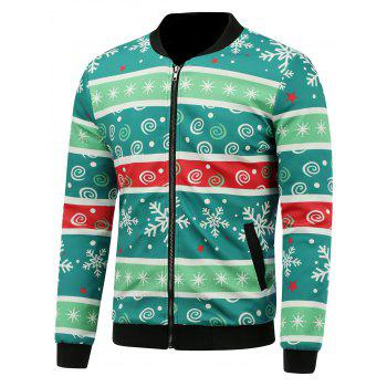 3D Christmas Stripe and Snowflake Print Stand Collar Padded Jacket