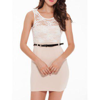 Sleeveless Lace Spliced Bodycon Mini Dress