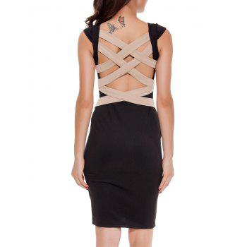 Sleeveless Criss Cross Bandage Bodycon Cocktail Dress