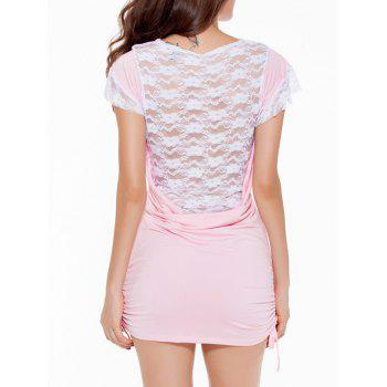 Cowl Neck Lace Spliced Mini Bodycon Dress