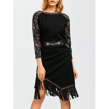 Printed Sleeve Fringe Hem Vintage Dress