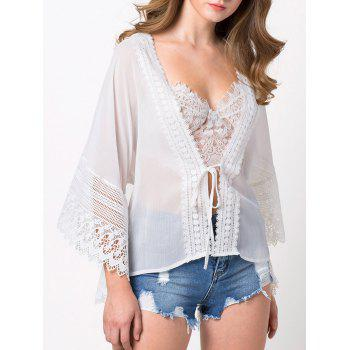String Lace Insert Loose Blouse