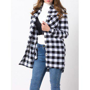 High-Low Long Plaid Shirt