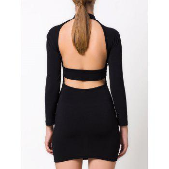 Hollow Out Long Sleeve Mini Dress