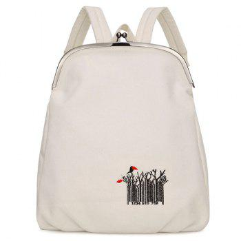 Canvas Kiss Lock Closure Embroidery Backpack