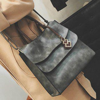 Snaps Metal PU Leather Tote Bag