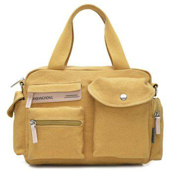 Canvas Colour Spliced Pockets Tote Bag