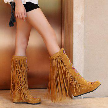 Ethnic Style Embroidered Mid Calf Fringe Boots