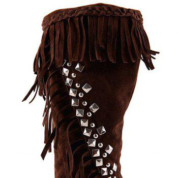 Bottes Mi-mollet strass Braid Fringe - Brun 38