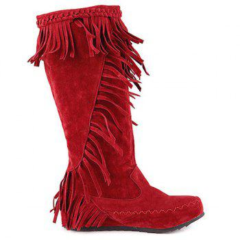 Bottes Mi-mollet strass Braid Fringe - Rouge 38