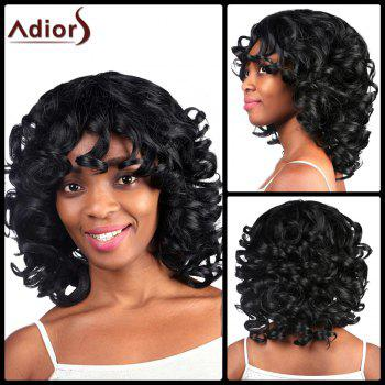 Medium Heat Resistant Fiber Shaggy Black Curly Capless Wig