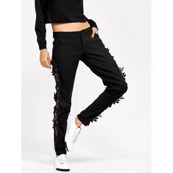 Lace Insert Black Skinny Jeans