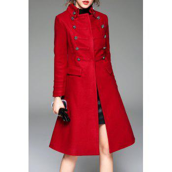 Buttoned A Line Wool Blend Coat